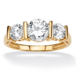 Ultimate CZ 10k Yellow Gold Cubic Zirconia 3-stone Ring