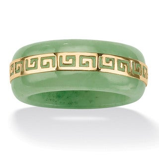 Angelina D'Andrea 14K Gold Jade Greek Key Ring