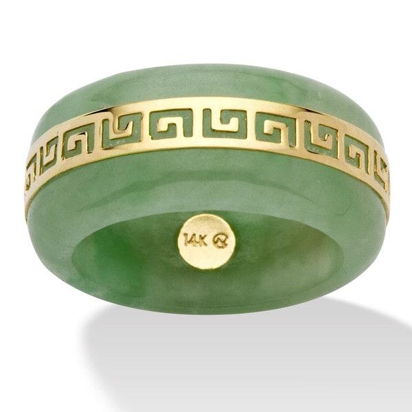 PalmBeach 14K Gold Jade Greek Key Ring Naturalist