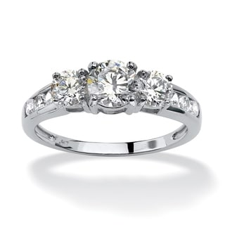 PalmBeach 3.15 TCW Round Cubic Zirconia 3-Stone Engagement Ring in 10k White Gold Classic CZ