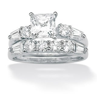 Ultimate CZ 10k White Gold Square-cut Cubic Zirconia Ring