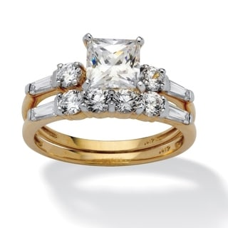 PalmBeach 2 Piece 2.52 TCW Princess-Cut Cubic Zirconia Bridal Ring Set in 10k Gold Classic CZ