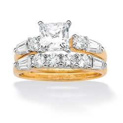 PalmBeach CZ 10K Yellow Gold Square Prong-set Cubic Zirconia Ring Classic CZ