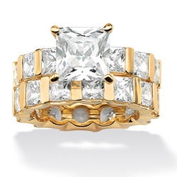 Ultimate CZ Highly Polished 18k Gold Over Sterling Silver Cubic Zirconia Ring