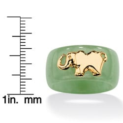 Angelina D'Andrea 10k Yellow Gold Jade Ring