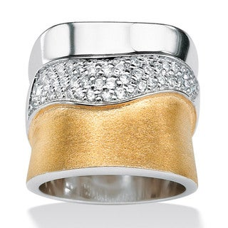 PalmBeach CZ Sterling Silver and 18k Goldplated Cubic Zirconia Band Glam CZ