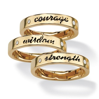 PalmBeach Round Crystal 14k Yellow Gold-Plated Set of Three Inspirational Stack Rings Tailored