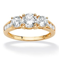 PalmBeach CZ 10k Yellow Gold Cubic Zirconia Fashion Ring Classic CZ