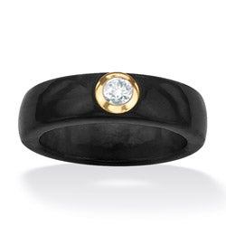 Palmbeach 10k Yellow Gold Black Jade and White Topaz Ring