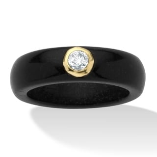 PalmBeach 10k Yellow Gold Black Jade and White Topaz Ring Naturalist