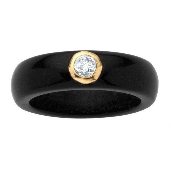 PalmBeach .30 TCW Round Genuine White Topaz and Genuine Black Jade 10k Yellow Gold Band Ring Naturalist
