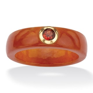 PalmBeach 10k Yellow Gold Red Jade and Garnet Band Naturalist