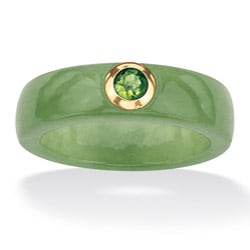 PalmBeach 10k Gold Green Jade and Peridot Ring Naturalist