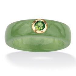 Palmbeach 10k Gold Green Jade and Peridot Ring