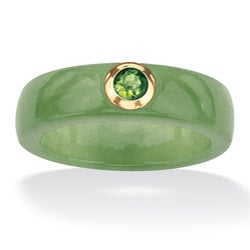 Angelina D'Andrea 10k Gold Green Jade and Peridot Ring