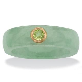 PalmBeach 10k Gold Green Jade and Peridot Ring Naturalist