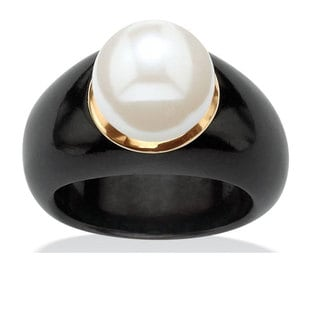 Angelina D'Andrea 10k Yellow Gold Black Jade and White Freshwater Pearl Ring