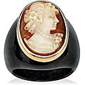 Angelina D'Andrea 10k Yellow Gold Onyx Cameo Ring