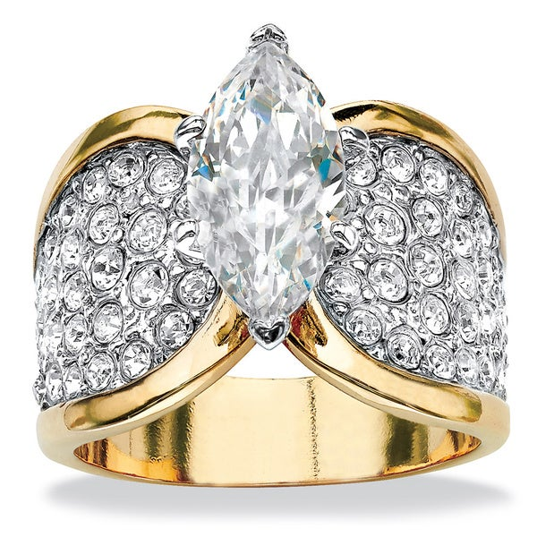 PalmBeach 4.59 TCW Marquise-Cut Cubic Zirconia Engagement Anniversary Ring in 14k Gold-Plated Glam CZ