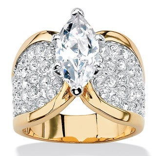 Ultimate CZ 14k Gold Overlay Cubic Zirconia Pave Ring