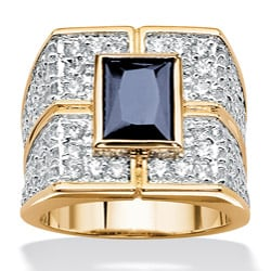 Ultimate CZ 18k Gold Over Silver Men's Sapphire and Cubic Zirconia Ring