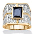 PalmBeach CZ 18k Gold Over Silver Men's Sapphire and Cubic Zirconia Ring