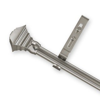 Adjustable Curtain Rod Set with Pewter Square Finial