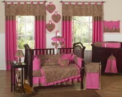 Pink Cheetah 9-piece Crib Bedding Set