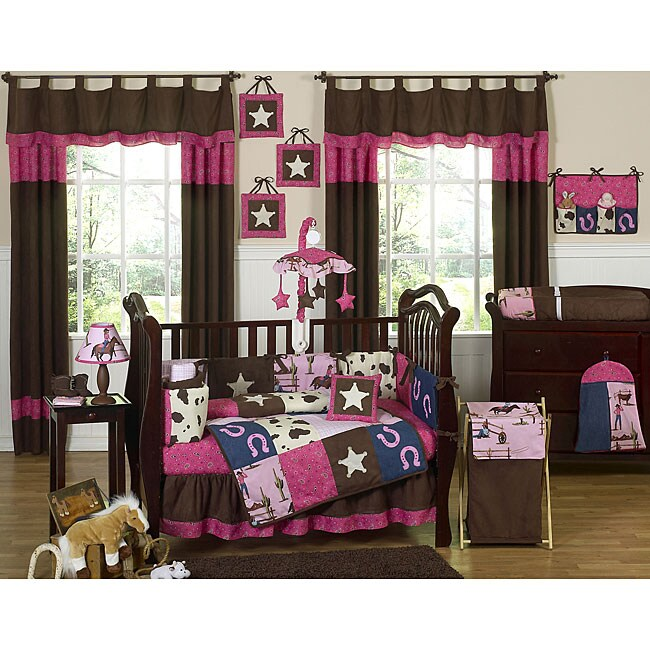sweet jojo designs cowgirl 9 piece crib bedding set 13109443