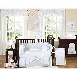 Sweet Jojo Designs White Eyelet 9-piece Crib Bedding Set