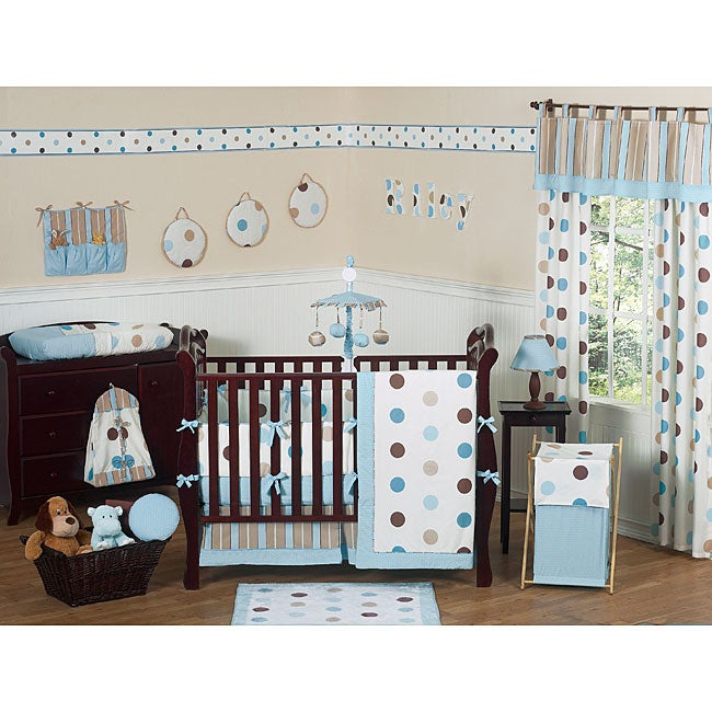 Sweet Jojo Designs Blue Polka Dot 9-piece Crib Bedding Set