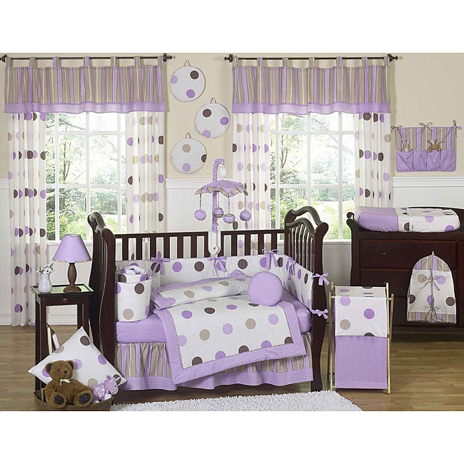 Sweet Jojo Designs Purple Polka Dot 9-piece Crib Bedding Set