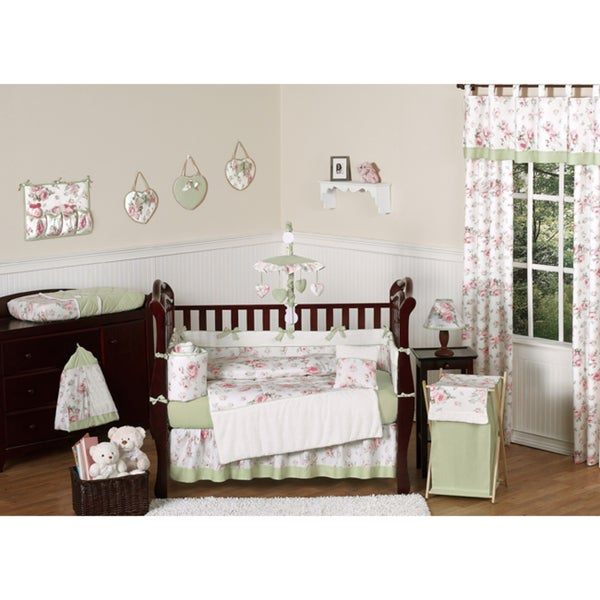 Sweet Jojo Designs Riley's Roses Collection 9pc Crib Bedding Set