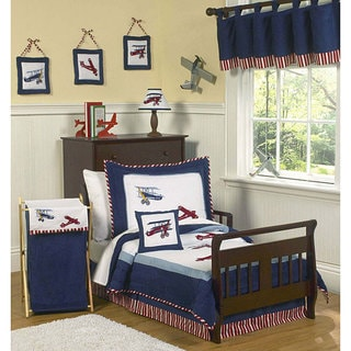 Sweet JoJo Designs Red, White and Blue Vintage Aviator Airplane 5-piece Toddler Boy's Bedding Set