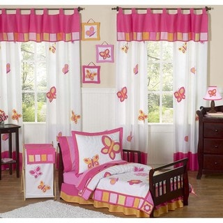 Sweet JoJo Designs Pink/ Orange Butterfly Collection 5-piece Toddler Girls's Bedding Set