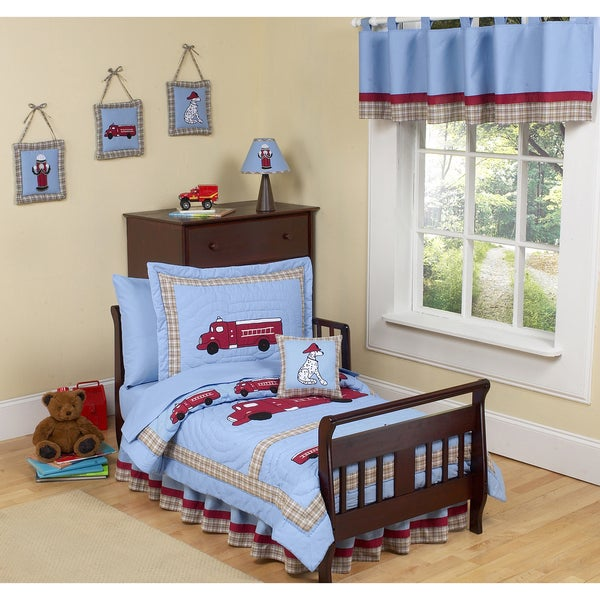 Sweet JoJo Designs Frankie's Firetruck 5-piece Toddler Boy's Bedding Set