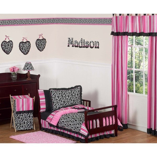 Sweet JoJo Designs Pink/ Black Madison Boutique 5-piece Toddler Girl's Bedding Set