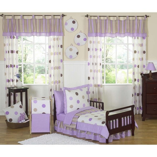 Sweet JoJo Designs Purple/ Brown Modern Polka Dot 5-piece Toddler Girl's Bedding Set
