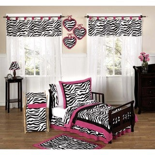 Sweet JoJo Designs Pink, Black and White Funky Zebra Print 5-piece Toddler Girl's Bedding Set