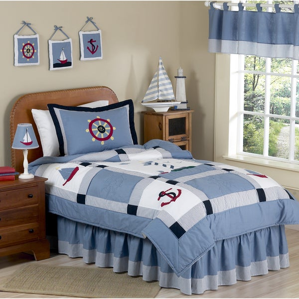 Sweet JoJo Designs Come Sail Away Nautical Boy's Bedding Set