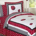Sweet JoJo Designs Red/ White 4-piece Twin-size Comforter Set