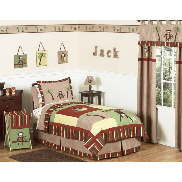 Sweet JoJo Designs Monkey 4-piece Boy's Twin-size Bedding Set