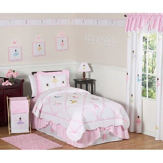Sweet JoJo Designs Ballerina 3-piece Girl Queen-size Quilt Set