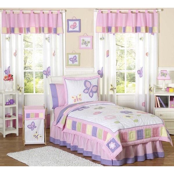 Sweet JoJo Designs Butterfly 3-piece Girls Queen-size Quilt Set