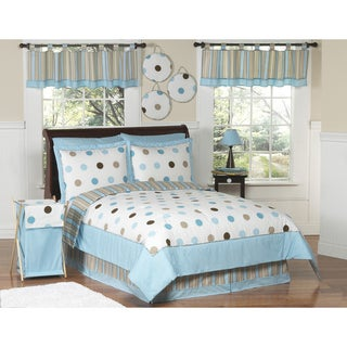 Sweet JoJo Designs Kids' Blue/ Brown Polka Dot 3-piece Full/ Queen-size Quilt Set