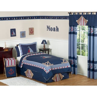 Sweet JoJo Designs Boy's Nautical Nights Sailboat 3-piece Full/ Queen-size Quilt Set