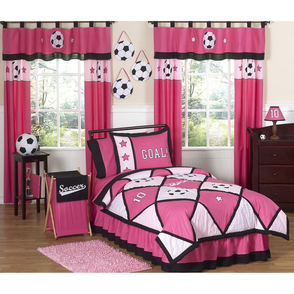 designs soccer girl pink 3 piece girl 39 s full queen size bedding set