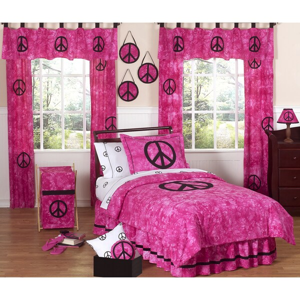 Sweet JoJo Designs Pink Peace Out 3-piece Girl's Full/ Queen-size Bedding Set