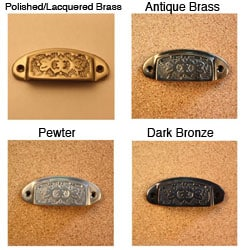 Solid Brass Vintage Nottingham Bin Pulls (Pack of 4)