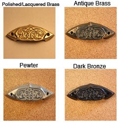 Solid Brass Vintage Plymouth Bin Pulls (Pack of 4)